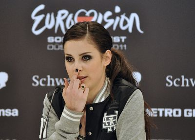 brunettes, women, Lena Meyer-Landrut, Eurovision Song Contest - related desktop wallpaper