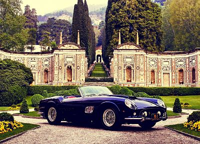 black, castles, cars, Ferrari, California, oldtimer - related desktop wallpaper