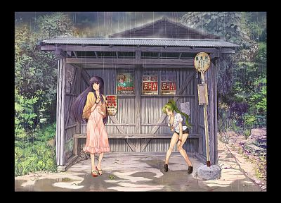 rain, wet, Higurashi no Naku Koro ni, long hair, blue hair, green hair, Furude Rika, Houjou Satoko - random desktop wallpaper