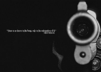 guns, quotes, weapons, grayscale, Alfred Hitchcock - random desktop wallpaper