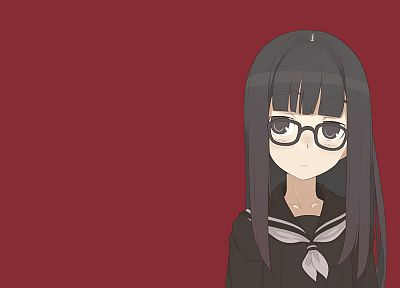 school uniforms, meganekko, simple background - desktop wallpaper