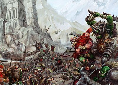 video games, Warhammer, dwarfs, orcs - random desktop wallpaper