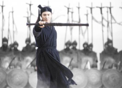 movies, heroes, selective coloring, Jet Li, swords, hero - desktop wallpaper