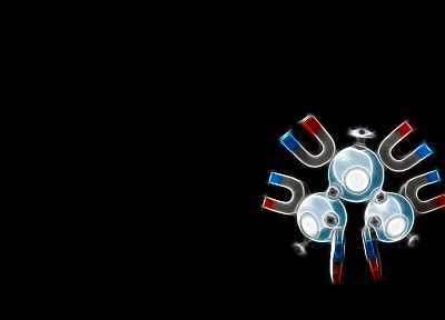 Pokemon, black background, Magneton - random desktop wallpaper