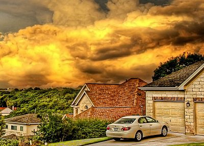 clouds, cityscapes, cars, Lexus, HDR photography, house, suburbs - desktop wallpaper