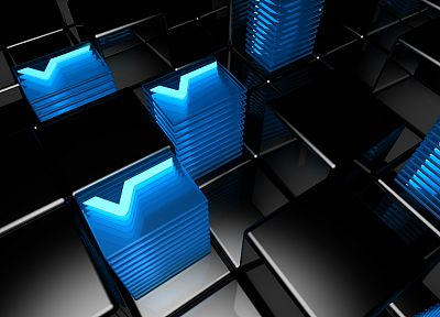 3D view, abstract, blue, dark, cubes - related desktop wallpaper