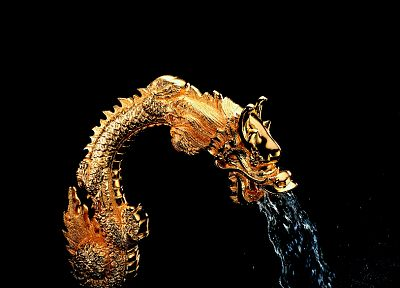 dragons, black background, fountain - related desktop wallpaper
