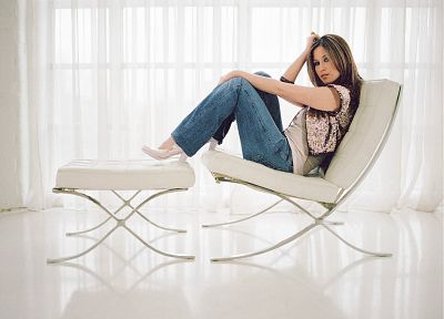 women, jeans, Rachel Stevens, chairs, S club 7 - random desktop wallpaper