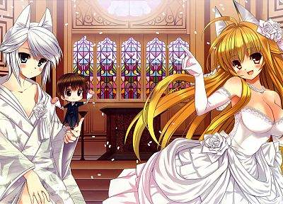 blondes, Kanokon, animal ears, wedding dresses - random desktop wallpaper
