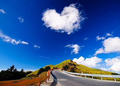 nature, love, trees, hills, roads, hearts, roadsigns, skyscapes - random desktop wallpaper