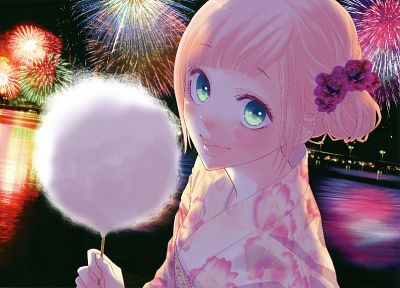 Vocaloid, fireworks, Megurine Luka, cotton candy, aqua eyes, soft shading, Japanese clothes - desktop wallpaper