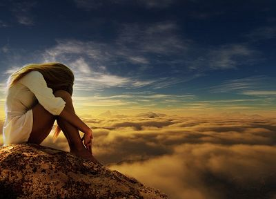 women, mountains, clouds, nature, scenic, skyscapes - random desktop wallpaper