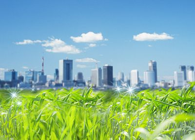 clouds, landscapes, Tokyo, cityscapes, grass, fields, digital art, photo manipulation - random desktop wallpaper