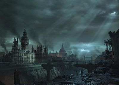 blue, clouds, cityscapes, London, destruction, buildings, Big Ben - desktop wallpaper