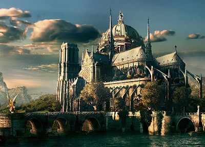 water, fantasy, skylines, bridges, artwork, cathedrals - random desktop wallpaper