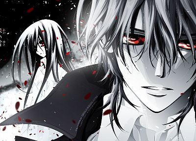 red eyes, Vampire Knight, monochrome - random desktop wallpaper