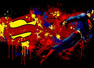 Superman, superheroes, Superman Logo, black background, paint splatter - desktop wallpaper