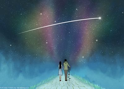 stars, couple, roads, Kimi ni Todoke, shooting star, Kuronuma Sawako, Kazehaya Shota - duplicate desktop wallpaper