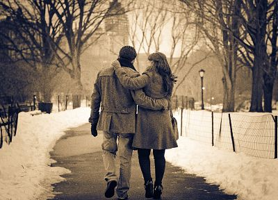 winter, streets, couple, romantic - related desktop wallpaper