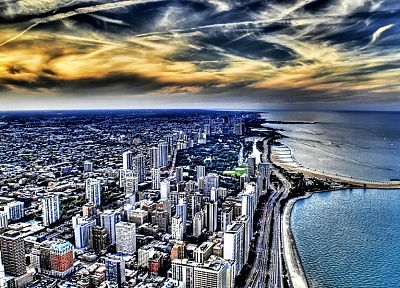 coast, cityscapes, Chicago, buildings, skyscrapers, Lake Michigan, HDR photography, Great Lakes, beaches - related desktop wallpaper