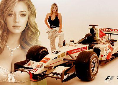 blondes, women, Honda, cars, bra, models, Keeley Hazell, Formula One, girls with cars, Playstation 3 - related desktop wallpaper