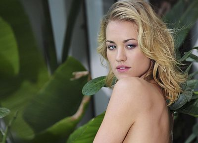 blondes, women, plants, Yvonne Strahovski, body painting - random desktop wallpaper