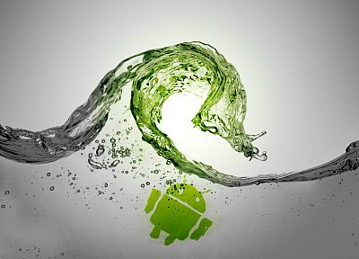 green, water, waves, Android, grey - desktop wallpaper