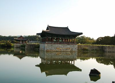 Asian architecture, reflections, South Korea - random desktop wallpaper