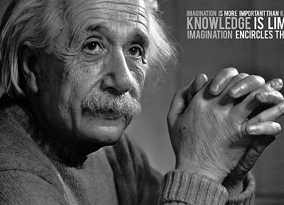 quotes, knowledge, Albert Einstein, monochrome, greyscale - random desktop wallpaper