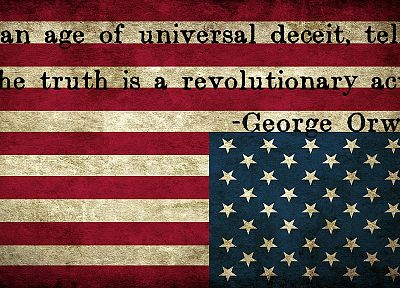 quotes, revolution, 1984, flags, USA, George Orwell - related desktop wallpaper