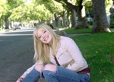 jeans, trees, Hilary Duff - related desktop wallpaper