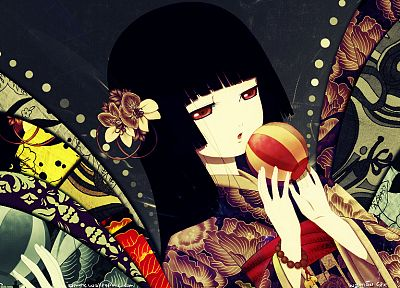 brunettes, Jigoku Shoujo, red eyes, Enma Ai, Japanese clothes - related desktop wallpaper