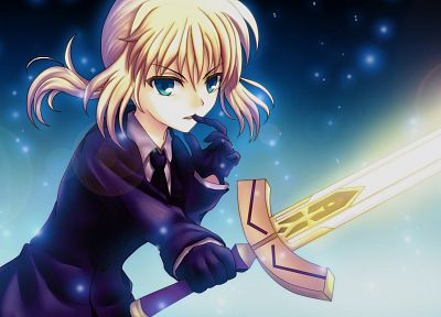 Fate/Stay Night, suit, Saber, Fate/Zero, anime girls, swords, Fate series - related desktop wallpaper
