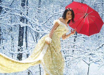 women, winter, red, Asians, umbrellas - random desktop wallpaper