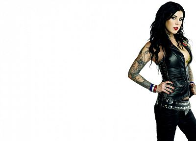 leather, brunettes, tattoos, women, Kat von D, white background - related desktop wallpaper