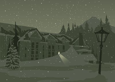 snow, night, buildings, lamp posts - desktop wallpaper