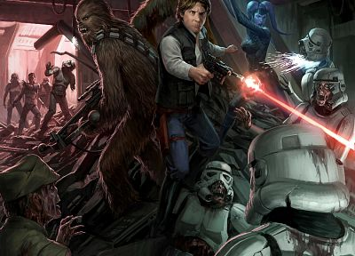 Star Wars, stormtroopers, zombies, Han Solo, Chewbacca, artwork - random desktop wallpaper