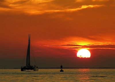sunset, ocean, clouds, landscapes, Sun, boats, vehicles - related desktop wallpaper