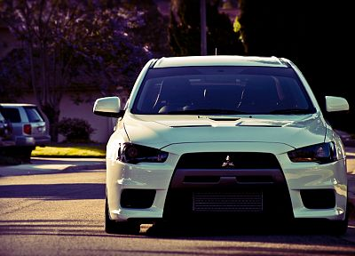 streets, cars, summer, Mitsubishi Lancer Evolution X - random desktop wallpaper