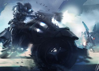 futuristic, artwork, motorbikes - related desktop wallpaper