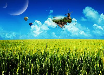 planets, Moon, grass, fields - desktop wallpaper