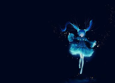water, Vocaloid, Hatsune Miku, blue dress, simple background, anime girls, artist, blue background - random desktop wallpaper