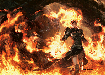 women, flames, fantasy, mage, fire, orange, Magic: The Gathering, glasses, armor, goggles, magic, sorcerer, Chandra Nalaar, magician, mtg, Planeswalker, Jason Chan, M12, Sorceress (Dragon's Crown) - related desktop wallpaper