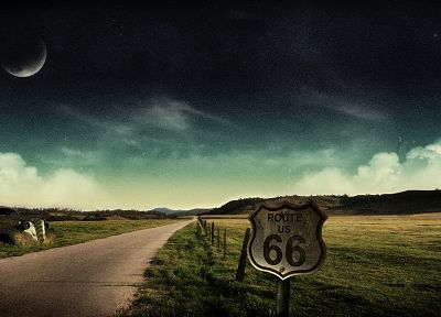 landscapes, autumn, fences, old, cars, Moon, crop, route 66, digital art, farms, skyscapes - related desktop wallpaper