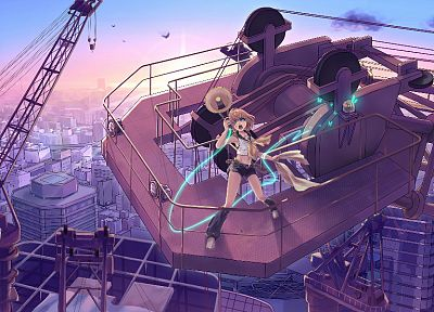 blondes, cityscapes, Vocaloid, buildings, Kagamine Rin, Love is War - desktop wallpaper