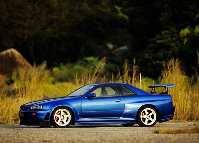 sunset, cars, Nissan Skyline, blue cars, RC Cars, Nissan Skyline R34, Midnight Blue Skyline - desktop wallpaper