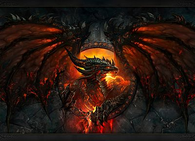 fantasy, dragons, World of Warcraft, deathwing, Blizzard Entertainment, World of Warcraft: Cataclysm - related desktop wallpaper