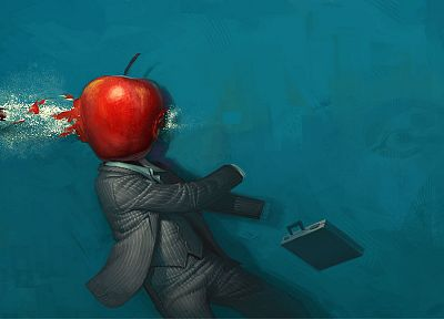 suit, ammunition, suitcase, bullets, apples, headshot - desktop wallpaper