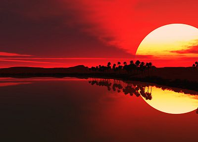 water, sunrise, red, palm trees, lakes, sillhouette - desktop wallpaper