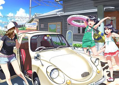 cars, artwork, anime, hats, anime girls - desktop wallpaper